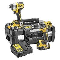 Pack De Machines Outil DEWALT Perceuse visseuse a percussion DCK266P2T - Visseuse a chocs - 2 batteries 5 Ah Li-ion - Coffret Tstak Bosch
