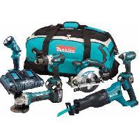 Pack De Machines Outil MAKITA Pack de 6 machines DLX6072PT - 3 batteries 18 V 5 Ah Li-ion - Chargeur double - Sac de transport
