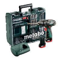 Pack De Machines Outil METABO Perceuse-visseuse a percussion + 2 batteries 10.8V 2Ah Li-ion+ chargeur + coffret+ 70 accessoires - Vert