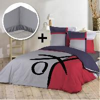Pack Linge De Lit Pack ABSTRAIT 100 coton - Parure de couette 220x240 cm + drap housse 140x190 cm - Gris et rouge