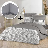 Pack Linge De Lit Pack AGATHA 100 coton - Parure de couette 220x240 cm + drap housse 140x190 cm - Gris taupe et blanc