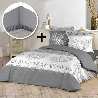 Pack Linge De Lit Pack AMOUREUX 100 coton - Parure de couette 140x200 cm + drap housse 90x190 cm - Gris et blanc