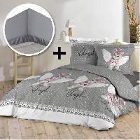 Pack Linge De Lit Pack ANGEL CAT 100 coton - Parure de couette 220x240 cm + drap housse 140x190 cm - Gris et blanc