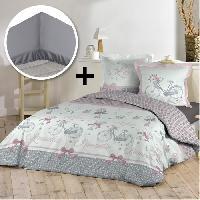 Pack Linge De Lit Pack BALADE 100 coton - Parure de couette 140x200 cm + drap housse 90x190 cm - Gris. blanc et rose