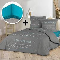 Pack Linge De Lit Pack BELLE ETOILE 100 coton - Parure de couette 220x240 cm + drap housse 140x190 cm - Gris et bleu outremer