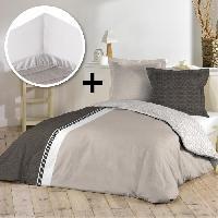 Pack Linge De Lit Parure de couette 100 coton 220x240cm + drap housse 140x190cm - Aurore