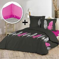 Pack Linge De Lit Parure de couette 100 coton 220x240cm + drap housse 140x190cm - Pink plume