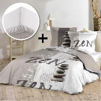 Pack Linge De Lit Parure de couette 100 coton 220x240cm + drap housse 140x190cm - Stones zen