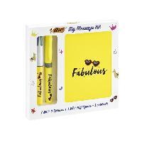 Pack Produits D'ecriture BIC My Message Kit Fabulous - Kit de Papeterie avec 1 Stylo-bille BIC 4 couleurs-1 Surligneur BIC Highlighter Grip Jaune-1 Carnet de