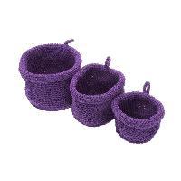 Panier - Casier - Corbeille - Tiroir - Porte Pour Meuble A Case FRANDIS 3 Paniers ronds en plastique Violet