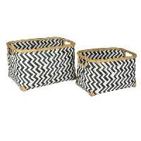 Panier - Casier - Corbeille - Tiroir - Porte Pour Meuble A Case IDEBOX Panier tressé en bois - carré noir - Noir/Blanc - Aucune