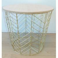 Panier - Casier - Corbeille - Tiroir - Porte Pour Meuble A Case Paniere petit modele en bois clair MDF - Ø34 cm - Fil métal doré - Cotton Wood