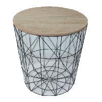 Panier - Casier - Corbeille - Tiroir - Porte Pour Meuble A Case Paniere petit modele en bois clair MDF - Ø34 cm - Fil métal noir - Cotton Wood