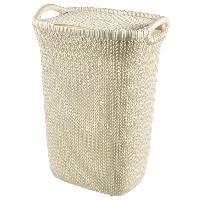Panier A Linge Coffre a linge 57 L - Aspect tricot - Blanc casse - Avec poignees et couvercle a clip