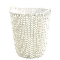 Panier A Linge Corbeille de rangement 7 L - Aspect tricot - Blanc casse