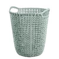 Panier A Linge Corbeille de rangement 7 L - Aspect tricot - Bleu gris