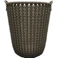 Panier A Linge Corbeille de rangement 7 L - Aspect tricot - Marron