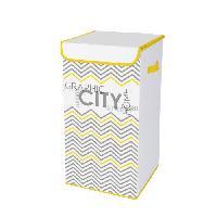 Panier A Linge HOMEA Coffre a linge avec couvercle Geometrik 30x30x60 cm blanc et jaune