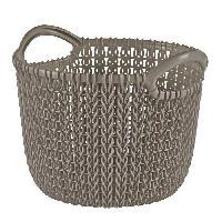 Panier A Linge Panier deco rond 3 L - Aspect tricot - Marron