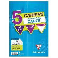 Papier - Cahier - Carnet 5 cahiers piqure 210x297 96 pages 90g - Couverture pelliculee 5 couleurs assorties sous film avec encart