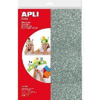 Papier - Cahier - Carnet APLI Pochette 4 feuilles de mousse caoutchouc - Argent. or. rouge et vert a paillettes a paillettes