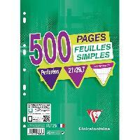 Papier - Cahier - Carnet CLAIREFONTAINE - 500 Feuilles simples blanches - Perforees - 21 x 29.7 - Petits Carreaux 5x5 - Papier 90G