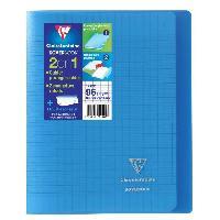 Papier - Cahier - Carnet CLAIREFONTAINE - Cahier piqûre KOVERBOOK - 17 x 22 - 96 pages Seyes - Couverture Polypro translucide - Couleur bleue