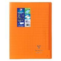 Papier - Cahier - Carnet CLAIREFONTAINE - Cahier piqûre KOVERBOOK - 21 x 29.7 - 96 pages Seyes - Couverture Polypro translucide - Couleur orange