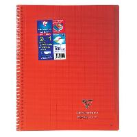Papier - Cahier - Carnet CLAIREFONTAINE - Cahier reliure avec rabats KOVERBOOK - 24 x 32 - 160 pages Seyes - Couverture polyproplylene translucide - Rouge