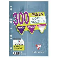 Papier - Cahier - Carnet CLAIREFONTAINE - Copies doubles blanches - Perforees - 21 x 29.7 - 300 pages 5 x 5 - Papier P.E.F.C 90G