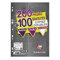 Papier - Cahier - Carnet CLAIREFONTAINE - Copies doubles blanches - Perforées - 21 x 29.7 - 300 pages Seyes - Papier P.E.F.C 90G