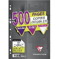 Papier - Cahier - Carnet CLAIREFONTAINE - Copies doubles blanches - Perforées - 21 x 29.7 - 500 pages Seyes - Papier P.E.F.C 90G