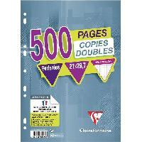 Papier - Cahier - Carnet CLAIREFONTAINE - Copies doubles blanches perforees - 21 x 29.7 - 500 pages - 5x5 - Papier P.E.F.C 90G