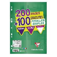 Papier - Cahier - Carnet CLAIREFONTAINE - Feuilles simples blanches - 4 coloris assortis - Perforees - 21 x 29.7 - 300 pages 5 x 5 - Papier P.E.F.C 90G
