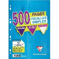 Papier - Cahier - Carnet CLAIREFONTAINE - Feuilles simples blanches - Perforees - 21 x 29.7 - 500 pages Seyes - Papier P.E.F.C 90G