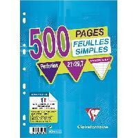Papier - Cahier - Carnet CLAIREFONTAINE - Feuilles simples blanches - Perforées - 21 x 29.7 - 500 pages Seyes - Papier P.E.F.C 90G