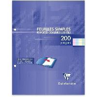Papier - Cahier - Carnet CLAIREFONTAINE - Feuilles simples couleurs - 4 couleurs - Perforees - 17 x 22 - 200 pages Seyes - Papier P.E.F.C 90G