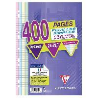 Papier - Cahier - Carnet CLAIREFONTAINE - Feuilles simples couleurs - 4 couleurs - Perforées - 21 x 29.7 - 400 pages Seyes - Papier P.E.F.C 90G