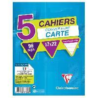 Papier - Cahier - Carnet CLAIREFONTAINE - Lot de 5 cahiers piqures - 17 x 22 - 96 pages Seyes - Couverture pelliculee - Couleurs assorties
