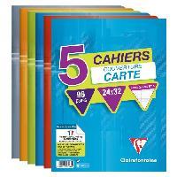 Papier - Cahier - Carnet CLAIREFONTAINE - Lot de 5 cahiers piqures - 24 x 32 - 96 pages Seyes - Couverture pelliculee - Couleurs assorties