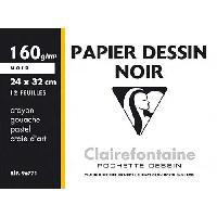 Papier - Cahier - Carnet CLAIREFONTAINE - Pochette dessin - 12 feuilles - 24 x 32 cm - 160 g - Noir