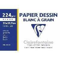 Papier - Cahier - Carnet CLAIREFONTAINE - Pochette dessin - Papier a grain P.E.F.C - 21 x 29.7 - 12 feuilles - 224G - Couleur blanche