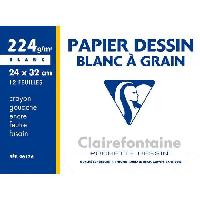 Papier - Cahier - Carnet CLAIREFONTAINE - Pochette dessin - Papier a grain P.E.F.C - 24 x 32 - 12 feuilles - 224G - Blanc