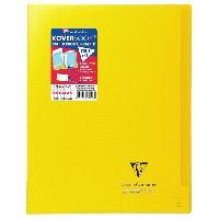 Papier - Cahier - Carnet CLAIREFONTAINE Koverbook Cahier piqure 96 pages avec rabats - 240 x 320 mm - 5 x 5 papier PEFC 90 g - Jaune