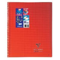 Papier - Cahier - Carnet Cahier reliure avec rabats KOVERBOOK - 21 x 29.7 - 160 pages Seyes - Couverture polyproplylene translucide - Rouge