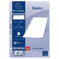 Papier - Cahier - Carnet EXACOMPTA 50 fiches Bristol blanches perforées - 210 x 297 mm - Uni PEFC 205 g - Avec encart