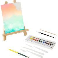 Papier - Cahier - Carnet MAIN D'ARTISTE 12 tubes de peinture + chevalet 28cm + toile 15x21cm + 2 pinceaux + 1 crayon + 3 accessoires - Aucune