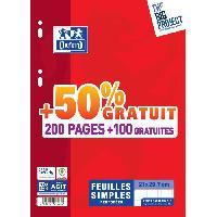 Papier - Cahier - Carnet OXFORD - Feuilles simples perforées 300 pages 5x5 avec marge - 90g