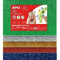 Papier - Cahier - Carnet Pochette 5 feuilles de mousse caoutchouc - Argent. or. rouge. bleu et vert a paillettes - Grand Format