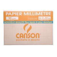 Papier - Cahier - Carnet Pochette papier millimetre - A4 - 90g - 12 feuilles - Couleurs bistre
